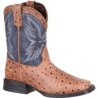 Durango Lil' Mustang Little Kids' Ostrich Emboss Western Boot, , medium