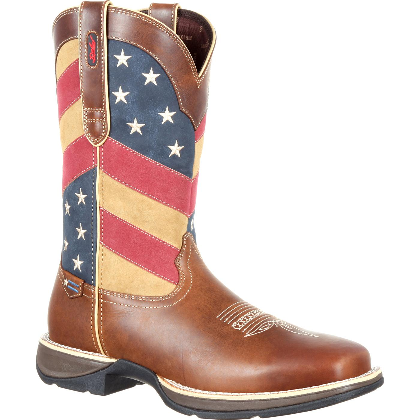 #DDB0124, Rebel by Durango Patriotic Pull-on Flag Boot