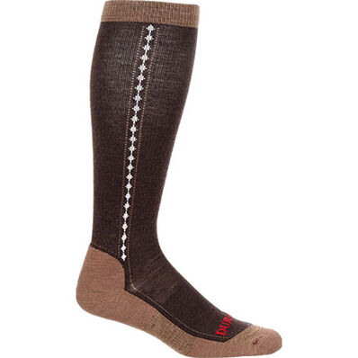 Durango® Boot Unisex Lightweight Merino Wool Socks, BROWN, large