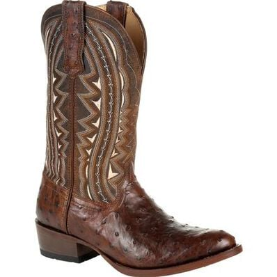 Durango® Premium Exotic Full-Quill Ostrich Oiled Saddle Western Boot, , large