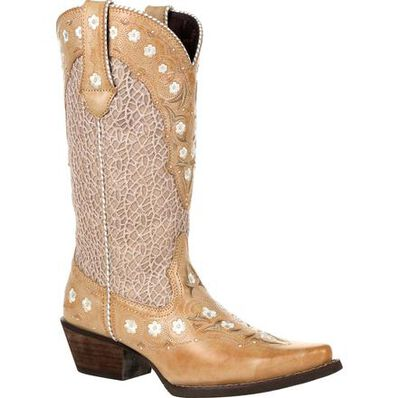 Crush™ by Durango® Women's Ivory Cream Lace Floral Western Boot, , large