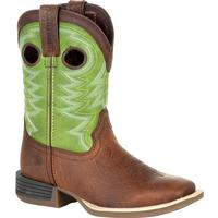 Durango® Lil' Rebel Pro™ Big Kid's Lime Western Boot, , medium