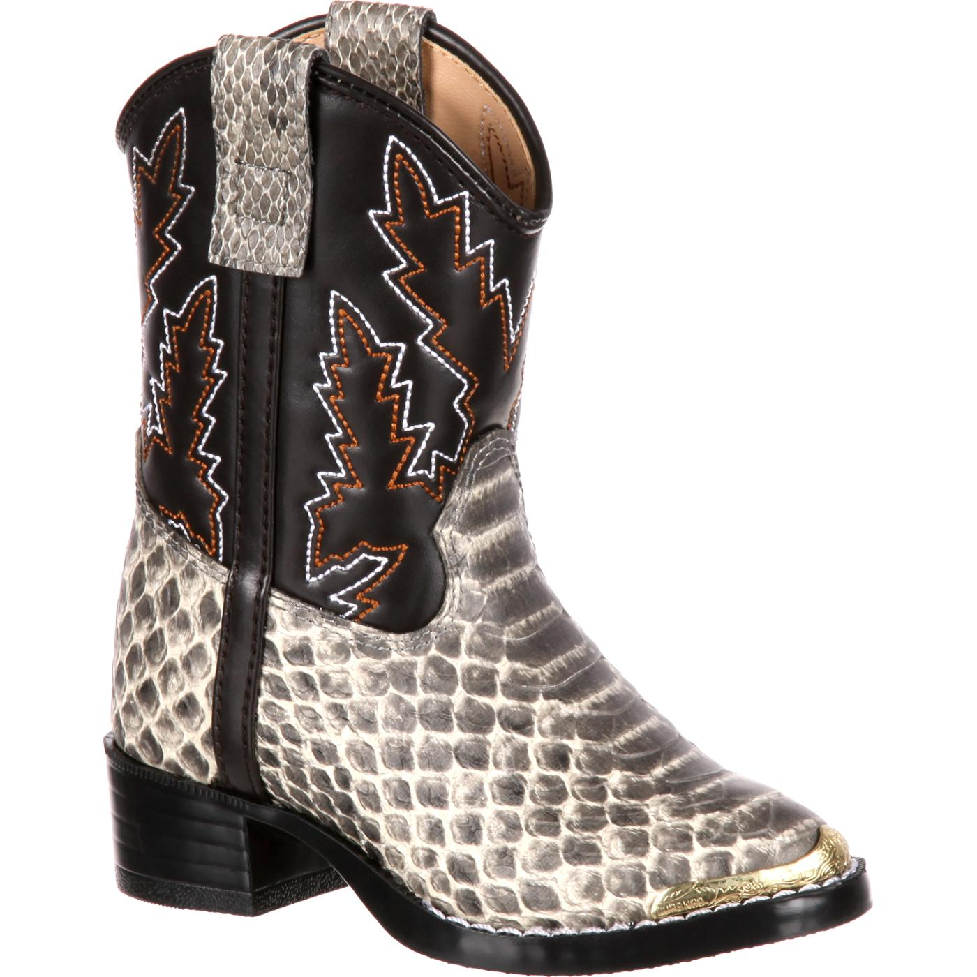 Durango Big Kids' Snake Print Pull-On Western Boot, BT913