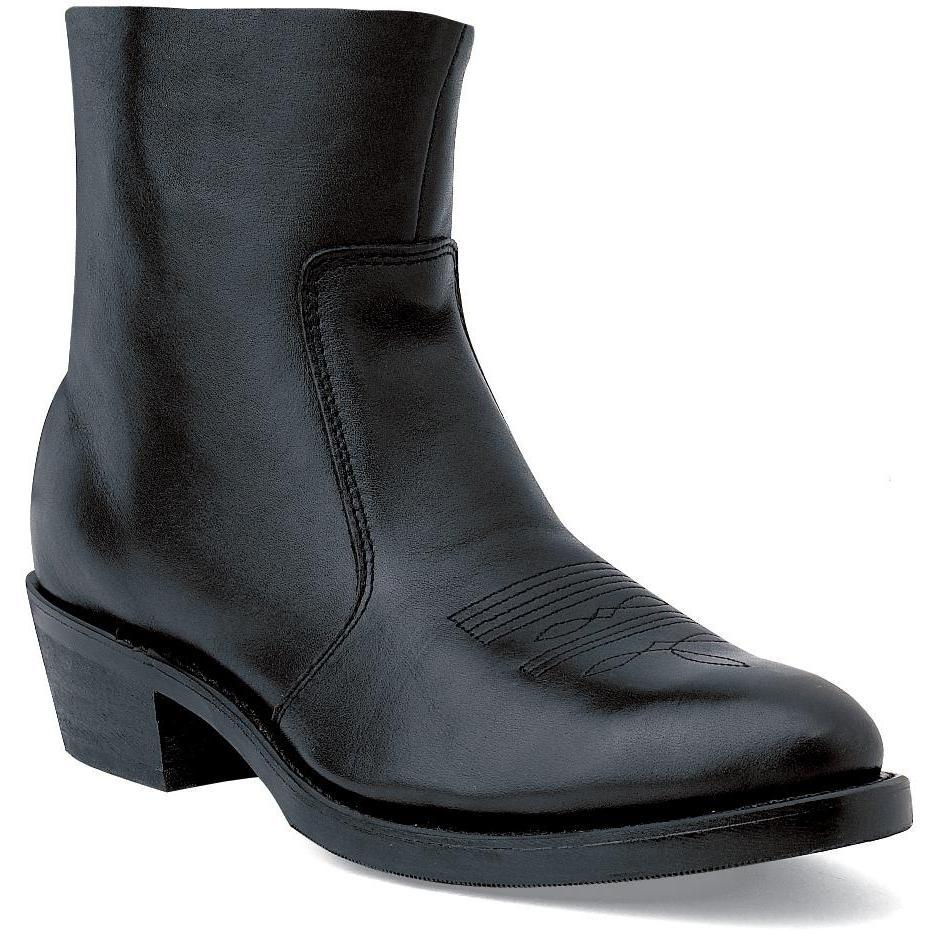 Durango Boot: Men's Black Leather 7-Inch Side Zip Boots