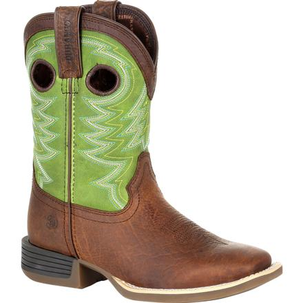 Durango Lil' Rebel Pro Big Kid's Lime Western Boot, , large