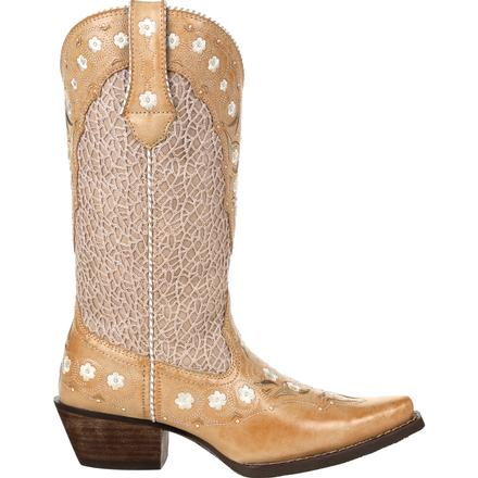 Crush™ by Durango® Women's Ivory Cream Lase Floral Western Boot, , large