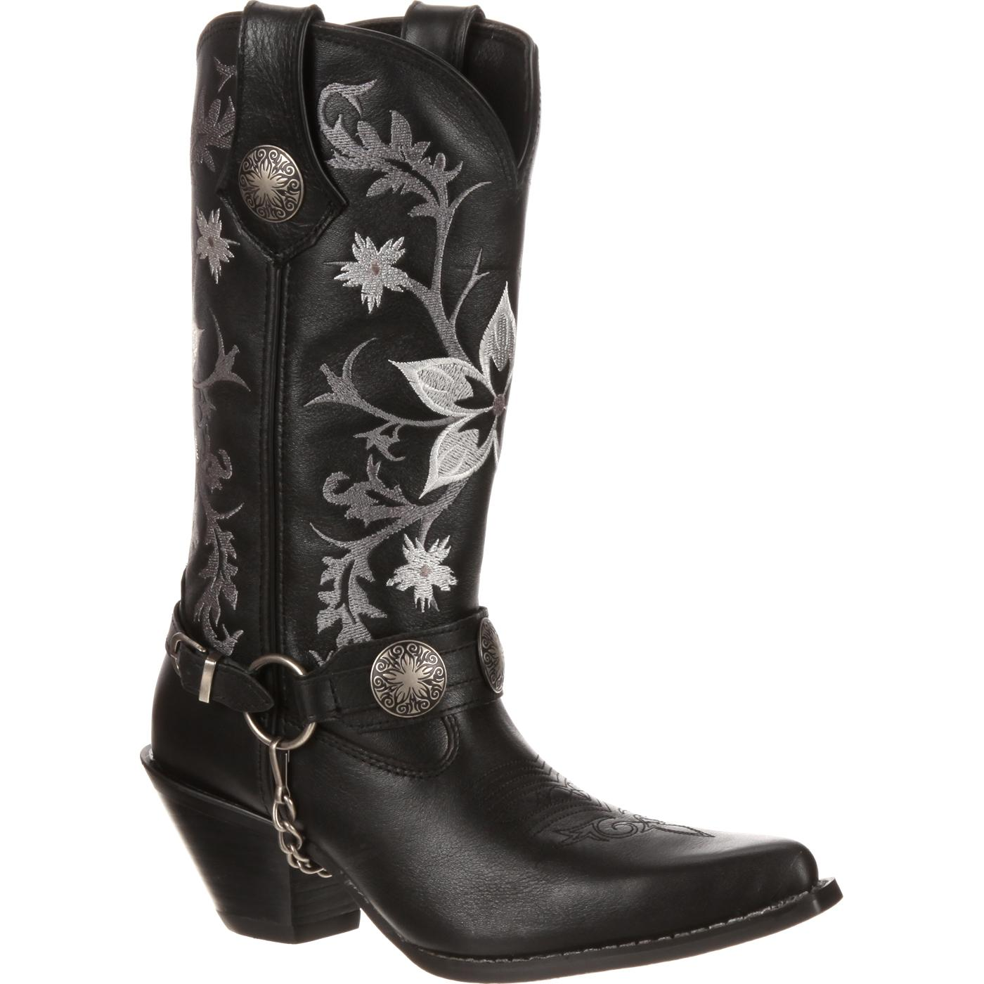 Crush By Durango Black Embroidered Harness Western Boots