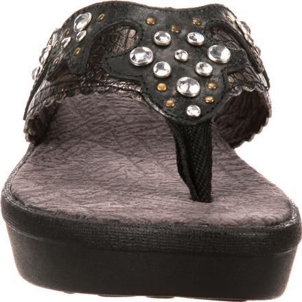 Durango Cheyenne Brown Leather Western Detail Thong Wedge Sandal NEW