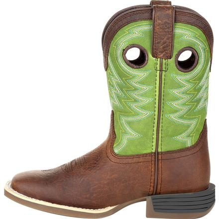 Durango® Lil' Rebel Pro™ Big Kid's Lime Western Boot, , large