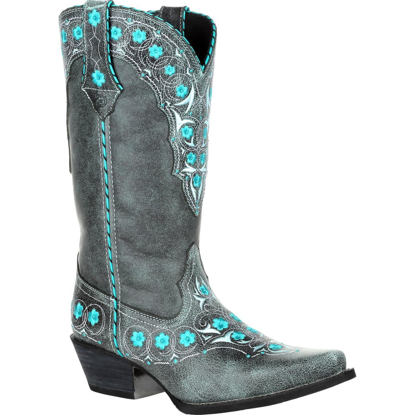 554118282a6 Crush By Durango Women's Blue Floral Western Boot