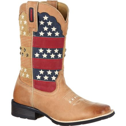 Durango Mustang Women's Pull-On Patriotic Western Boot, , large