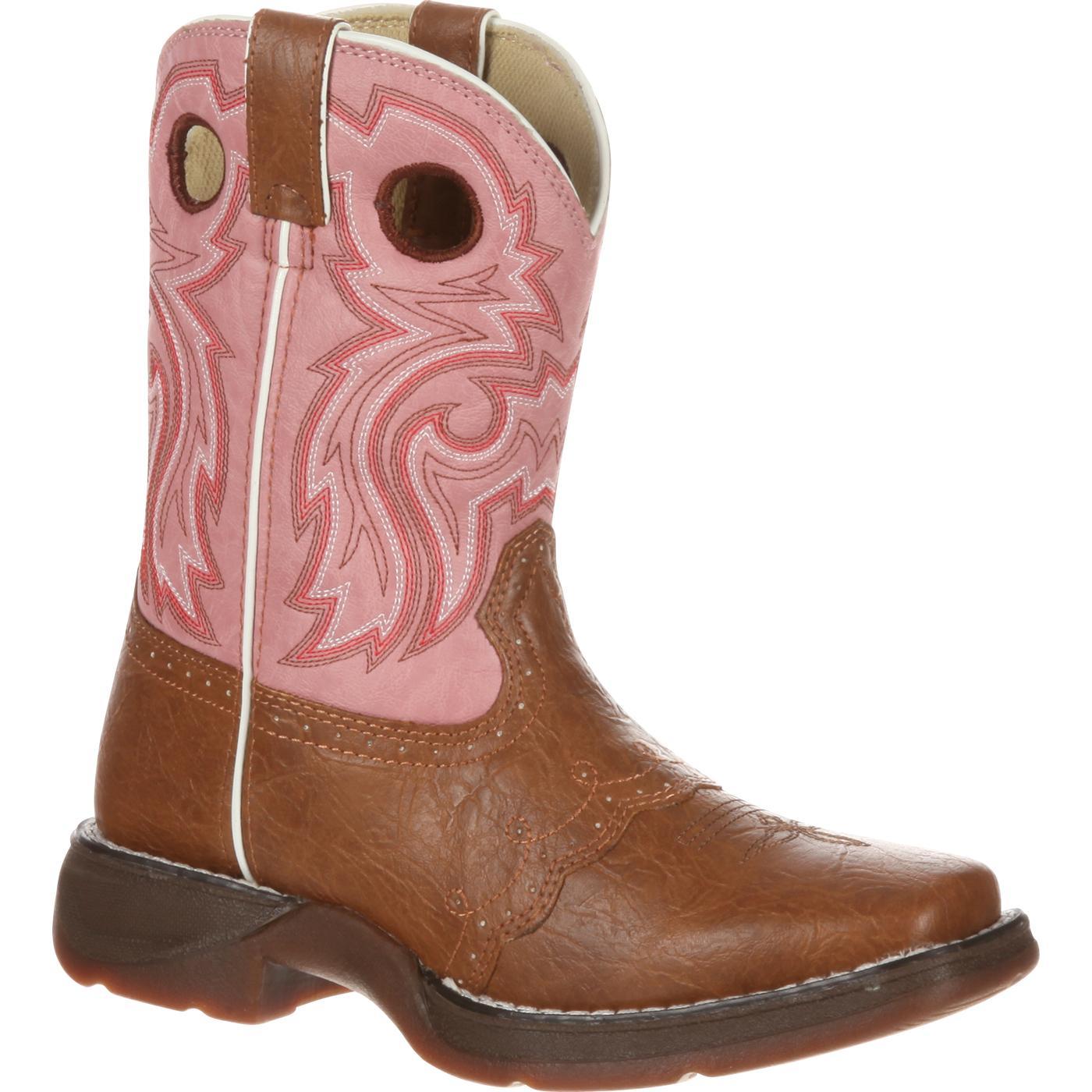 Lil' Durango: Little Kid Tan Pink Lacey Western Boot, BT287