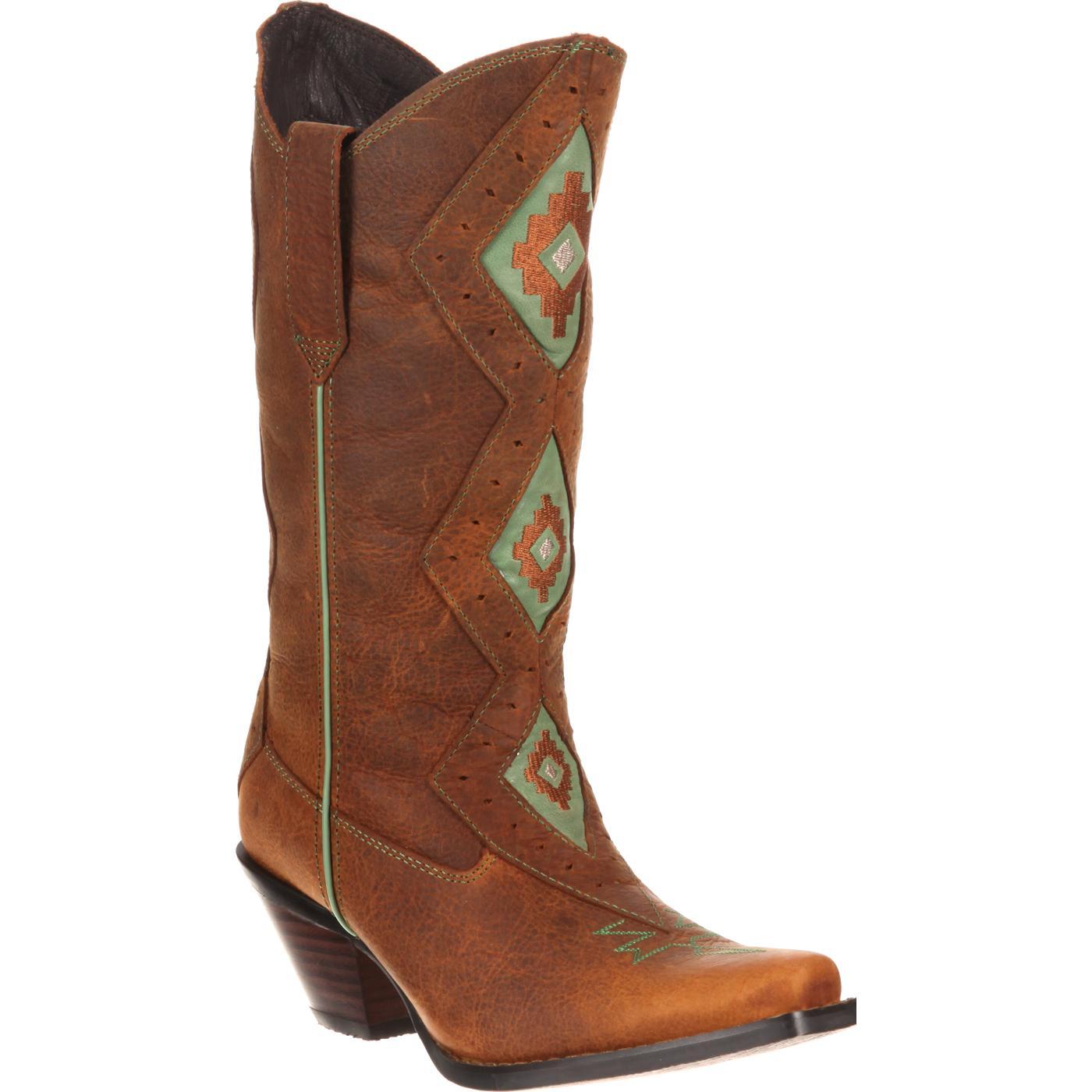 Durango Womens Mint Light Tan Boots Crush 12 Tribal
