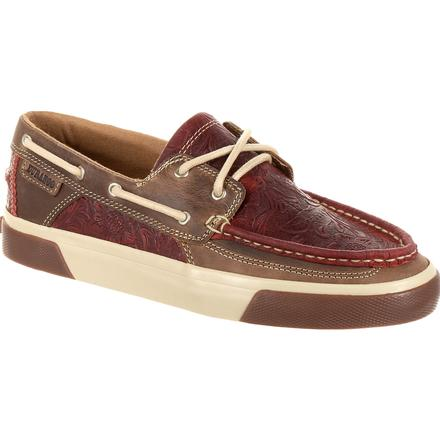 Durango® Music City™ Women's Red Western Embossed Boat Moc