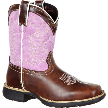 Lil' Durango Big Kids' Lavender Pull-On Western Boot, , large
