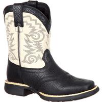 Lil' Durango Big Kid Black and Cream Saddle Western Boot, , medium
