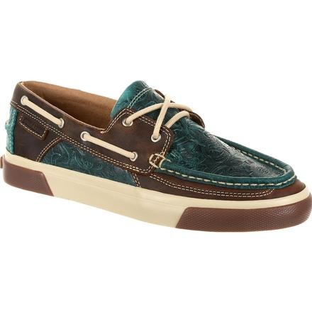 Durango Music City Women's Turquoise Western Boat Moc, , large