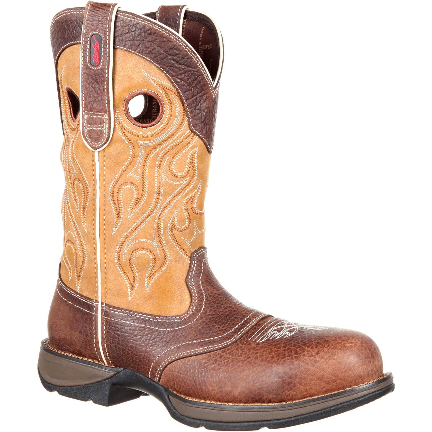 Rebel by Durango Composite Toe Waterproof Saddle Western Boot