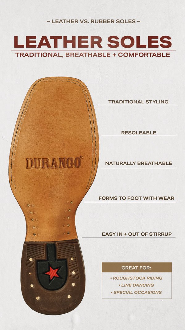 Leather Soles | Traditional Styling, Resoleable, Naturally Breathable, Forms To Foot With Wear, Easy In/Out Of Stirrup